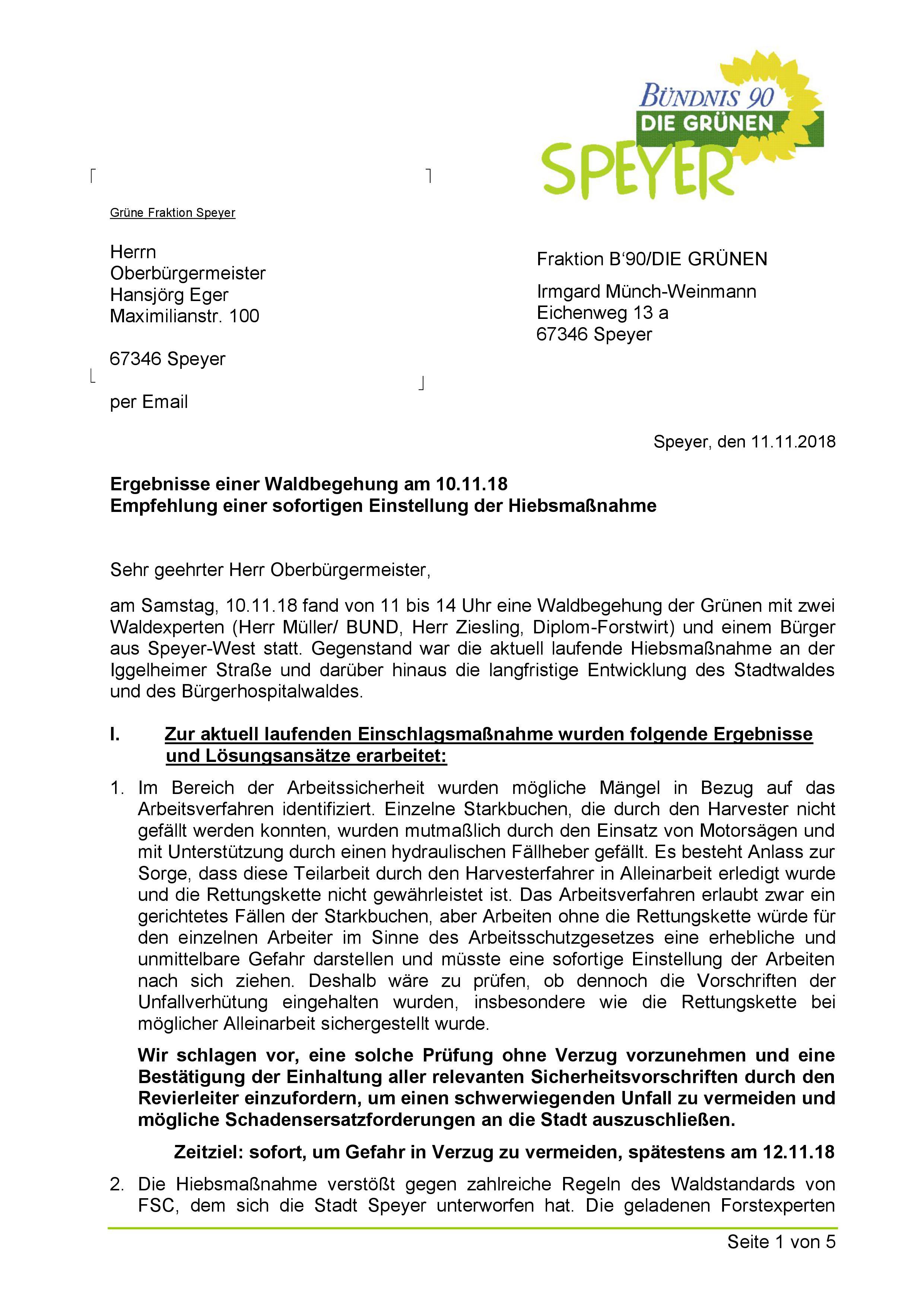 Schreiben an OB Eger / Sofortige Einstellung der Hiebsmaßnahmen im Stadtwald